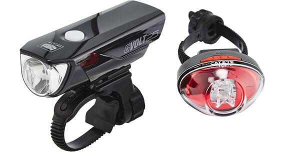 CatEye GVOLT25/Rapid1G Cykellysen Set EL360GRC/LD611G svart